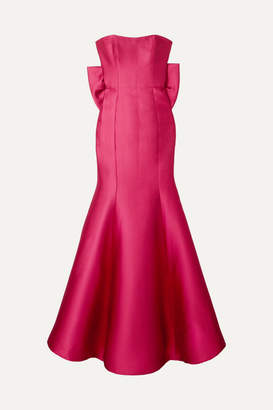 Marchesa Strapless Bow-embellished Satin-pique Gown - Fuchsia