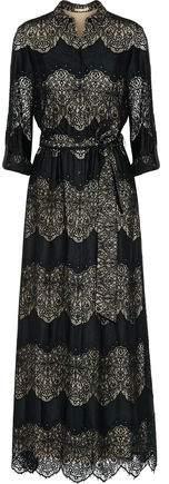 Alice + Olivia Alice+olivia Sina Paneled Guipure Lace And Voile Maxi Dress