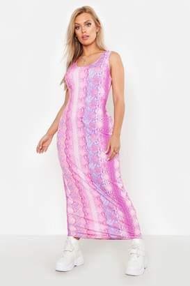 boohoo Plus Snake Print Maxi Dress