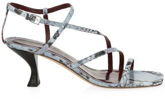 STAUD Gita Snakeskin-Embossed Leather Sandals