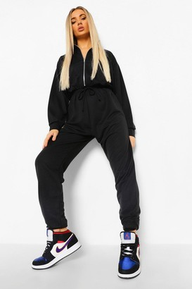 boohoo Funnel Neck Zip Sweat Jumpsuit