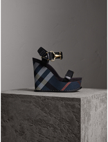 Burberry Hardware Detail Ripstop and Check Wedge Sandals