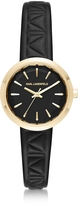 Karl Lagerfeld Belleville Gold-tone PVD Stainless Steel Women's Quartz Watch w/Black Leather Strap