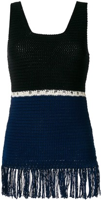 ZEUS + DIONE Fringed Colour Block Knitted Top