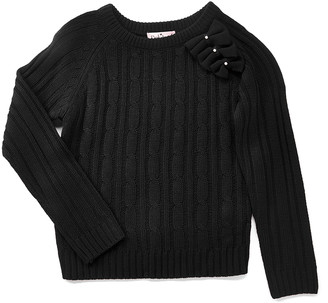 Pink Angel Girls' Pullover Sweaters Black - Black Bow-Accent Cable-Knit Sweater - Toddler & Girls