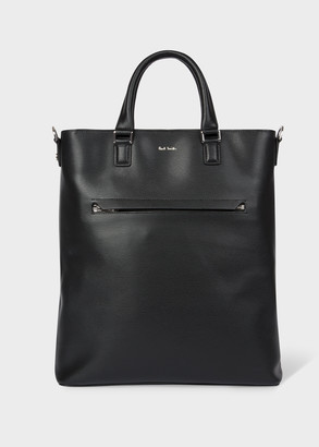 Men's Black Embossed Leather Tote Bag With 'Bright Stripe' Trim