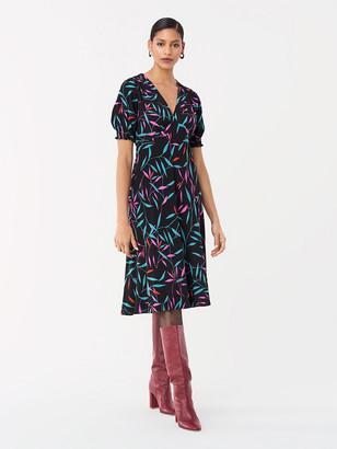 Diane von Furstenberg Idris Cinch-Sleeve Crepe Dress