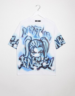 Jaded London oversized t-shirt with grafitti and cartoon graphic