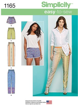 Simplicity Women's Trousers and Shorts Sewing Pattern, 1165
