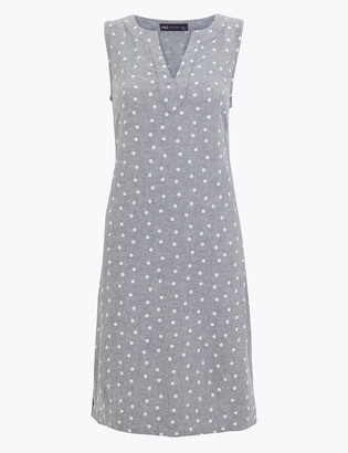 Marks and Spencer Linen Polka Dot Shift Dress
