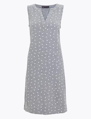 Marks and Spencer Linen Blend Polka Dot Shift Dress