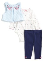 Little Me Infant Girl's Bunny Vest, Bodysuit & Pants Set
