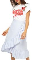 Miss Selfridge Miss Selfirdge Poplin Frill Midi Skirt, Pale Blue