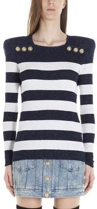 Balmain Padded Shoulder Striped Sweater