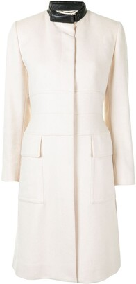Gucci Pre Owned Contrasting Band Collar Knee-Length Coat