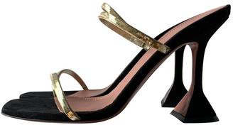 Amina Muaddi Begum Gold Suede Sandals
