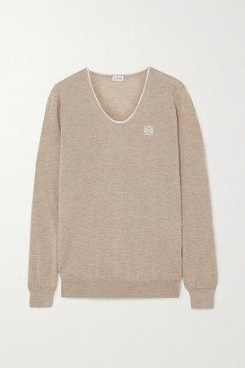 Loewe Embroidered Cashmere And Cotton-blend Sweater - Beige