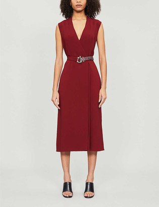 Victoria Beckham Belted crepe midi wrap dress