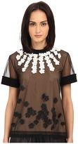Vera Wang T-Shirt w/ Heavy Ribbed Knit Trims