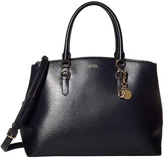 Lauren Ralph Lauren Saffiano Double Zip Satchel Large (Lauren Navy) Satchel Handbags