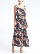 Banana Republic Print Ruffle-Hem Maxi Dress