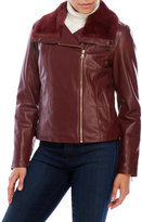 Cole Haan Solid Faux Leather Jacket