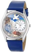 Whimsical Watches Footprints Royal Blue Leather and Silvertone Unisex Quartz Watch with White Dial Analogue Display and Multicolour Leather Strap S-0710011
