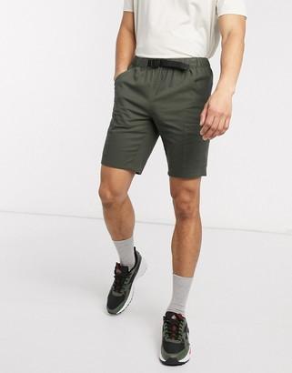 ASOS DESIGN slim utility shorts in khaki with webbed belt