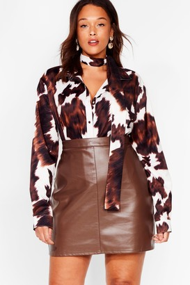 Nasty Gal Womens The Hustle Plus Faux Leather Mini Skirt - Brown - 22