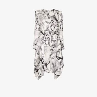 Stella McCartney Horse Print Belted Silk Dress