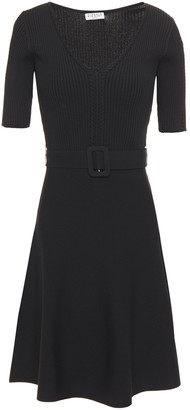 Claudie Pierlot Belted Ribbed-knit Dress