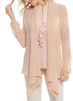 Jones New York Novelty Stitch Open Front Cardigan