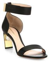 Nicholas Kirkwood Maeva Pearly Heel Leather Ankle-Strap Sandals