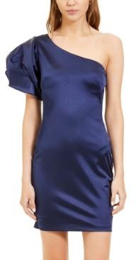 Blondie Nites Juniors' One-Shoulder Puff-Sleeve Dress