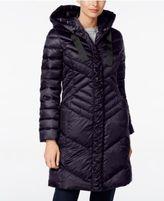 T Tahari Hooded Ruched Puffer Coat