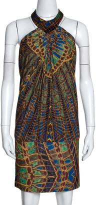 Roberto Cavalli Multicolor Printed Silk Mini Halter Dress M