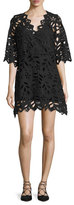See by Chloe Leaf-Lace Mini Dress, Black
