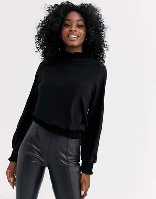 New Look high neck victorian style top in black