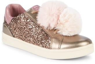 Geox Girl's Glitter & Faux Fur Pom-Pom Sneakers