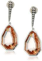 Stephen Dweck Sterling Beaded Bar/Cathedral Peach Quartz Drop Earrings