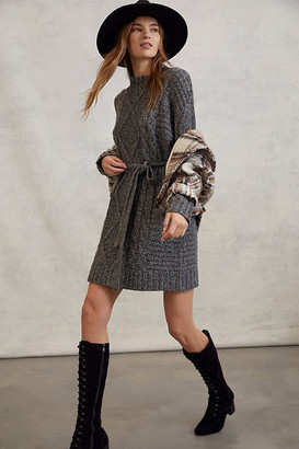 Leah Cable-Knit Sweater Dress By Amadi in Grey Size S