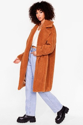 Nasty Gal Womens When You're Teddy Oversized Faux Fur Coat - Toffee