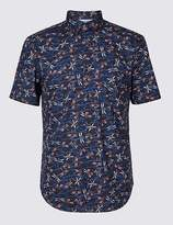 Marks and Spencer Pure Cotton Slim Fit Printed Shirt