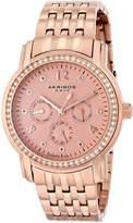 Akribos XXIV Women's AK626RG Lady Diamond Multifunction Diamond and Crystal Rose-Tone Stainless Steel Bracelet Watch