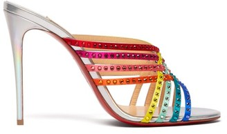 Christian Louboutin Marthastrass 100 Crystal-embellished Leather Mules - Womens - Silver Multi