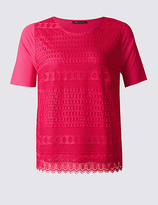 M&S Collection PLUS Lace Front Short Sleeve T-Shirt
