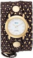 La Mer Women's LMSTWEXL001 Golden Polka Dots Simple Analog Display Quartz Brown Watch