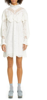 Anna Sui Eyelet Collage Long Sleeve Dress