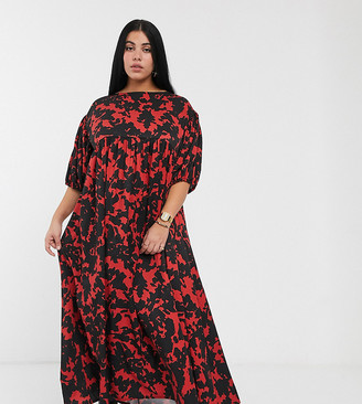 Another Reason Plus puff sleeve maxi smock dress in abstract print