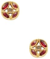 Amrapali 18K Yellow Gold, Ruby & 0.10 Total Ct. Diamond Circle Stud Earrings